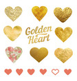 set golden hearts for wedding decorations or vector image