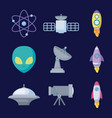 set objects of space universe icon vector image vector image