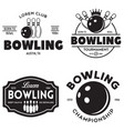 set of vintage monochrome style bowling vector image vector image