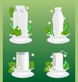 soy milk package realistic mockup set vector image
