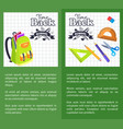 time back to school posters rucksack on leaflet vector image vector image
