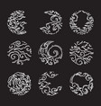traditional asian cloud eclipse shape set vector image vector image