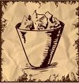 Trash bin isolated on vintage background vector image vector image