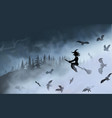 witch sitting on broom flyes through fog vector image vector image