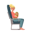 Young woman in airplane seat economy class vector image vector image