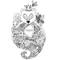 zentangl bear with flowers vector image