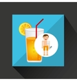 man cocktail shorts towel beach vacations vector image