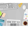 Business calculator cup of coffee blank paper vector image
