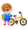 a boy standing on the bike vector image vector image