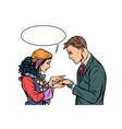 a gypsy telling fortunes by hand to businessman vector image vector image