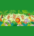 african animals in jungle cute cartoon vector image vector image