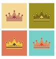 assembly flat icons poker crown royal vector image vector image