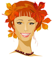 autumn beautiful woman portrait vector image vector image