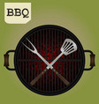 big fork and spatula crossed on grill - top view vector image