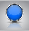 blue button with chrome frame on gray background vector image vector image