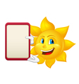 blue eyed sun with demonstration board vector image vector image