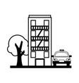 building exterior taxi service transport vector image