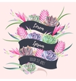 Card with ribbon and exotic flowers vector image vector image