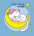 cat sleeping on the moon vector image vector image