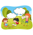 Children reading book in the park vector image