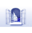 christmas tree under the snowfall merry vector image vector image
