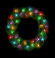 Christmas wreath with multicolored glassy led vector image vector image