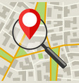 city map with magnifier vector image vector image