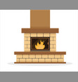 classic stone fireplace with burning flame vector image vector image