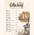 coffee menu with price list and coffee grinder vector image