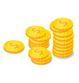 coins stack flat dollar vector image vector image