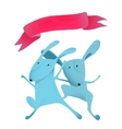 Couple rabbits jumping kids cartoon with ribbon vector image