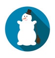 cute snowman on blue background with long shadow vector image