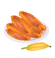 Delicious Fried Bananas on A White Dish vector image vector image