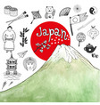 doodle hand drawn collection of japan icons with vector image vector image