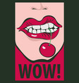 drawing human mouth screaming wow vector image vector image