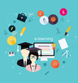 Education school university e-learning flat poster vector image vector image
