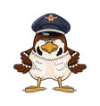 funny cartoon sparrow in pilot service cap vector image vector image