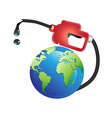 gas pump oil on earth vector image vector image