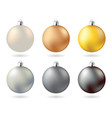 glow metal christmas balls gold silver copper vector image