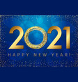 golden 2021 dark blue background vector image