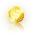 golden coin glossy metallic money business symbol vector image vector image