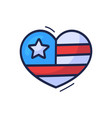 hand draw cartoon american flag in heart sign vector image vector image