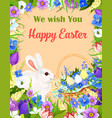 happy easter wishes greeting card bunny egg vector image vector image