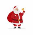 happy santa claus ringing a bell - cartoon vector image vector image