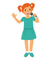 happy young girl singing at the party vector image