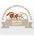 international homeless animals day cat and dog vector image