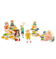 kids reading standing sitting on piles of books vector image vector image