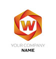 letter w logo symbol on colorful hexagonal vector image vector image