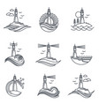 lighthouse line icon set vector image vector image