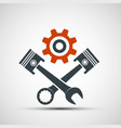 logo engine with plungers and a wrench vector image vector image